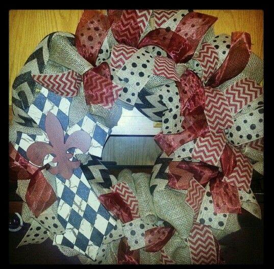 Burlap chevron wreath with Cross