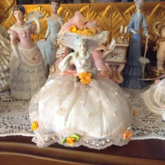 Victorian dressed half doll with light peach by cindysvictorian