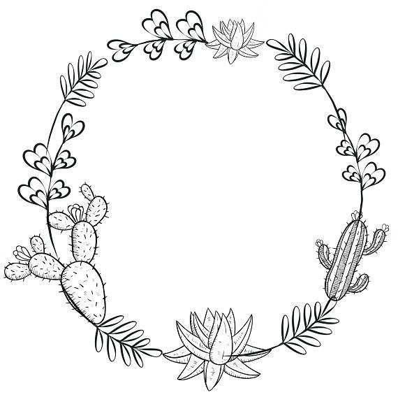 Cacti Wreath Wreath Drawing Cactus Drawing Succulents Drawing