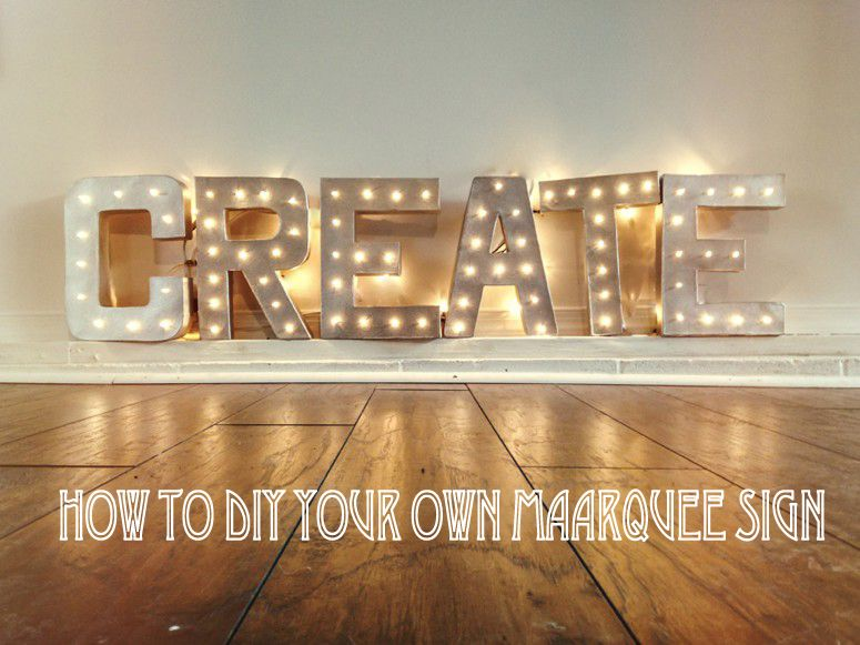 Vintage Marquee Light Signs - always good to add lots of fairy lights and  different lighting to your marque wedding