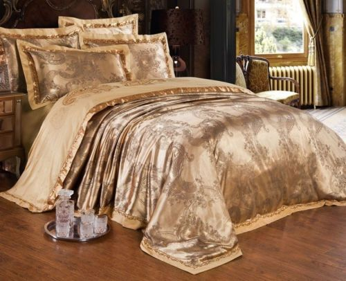 Majesty 4 Piece Luxury Sheets Duvet Cover Set Gold Double Full Queen