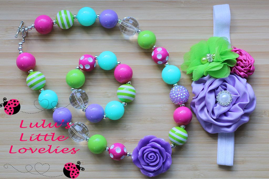 Necklace Headband Set Purple Rose Green Pink Teal Beads Chunky Bubblegum Necklace  Childrens Costume Jewelry Spring Summer Photography Prop - pinned by pin4etsy.com