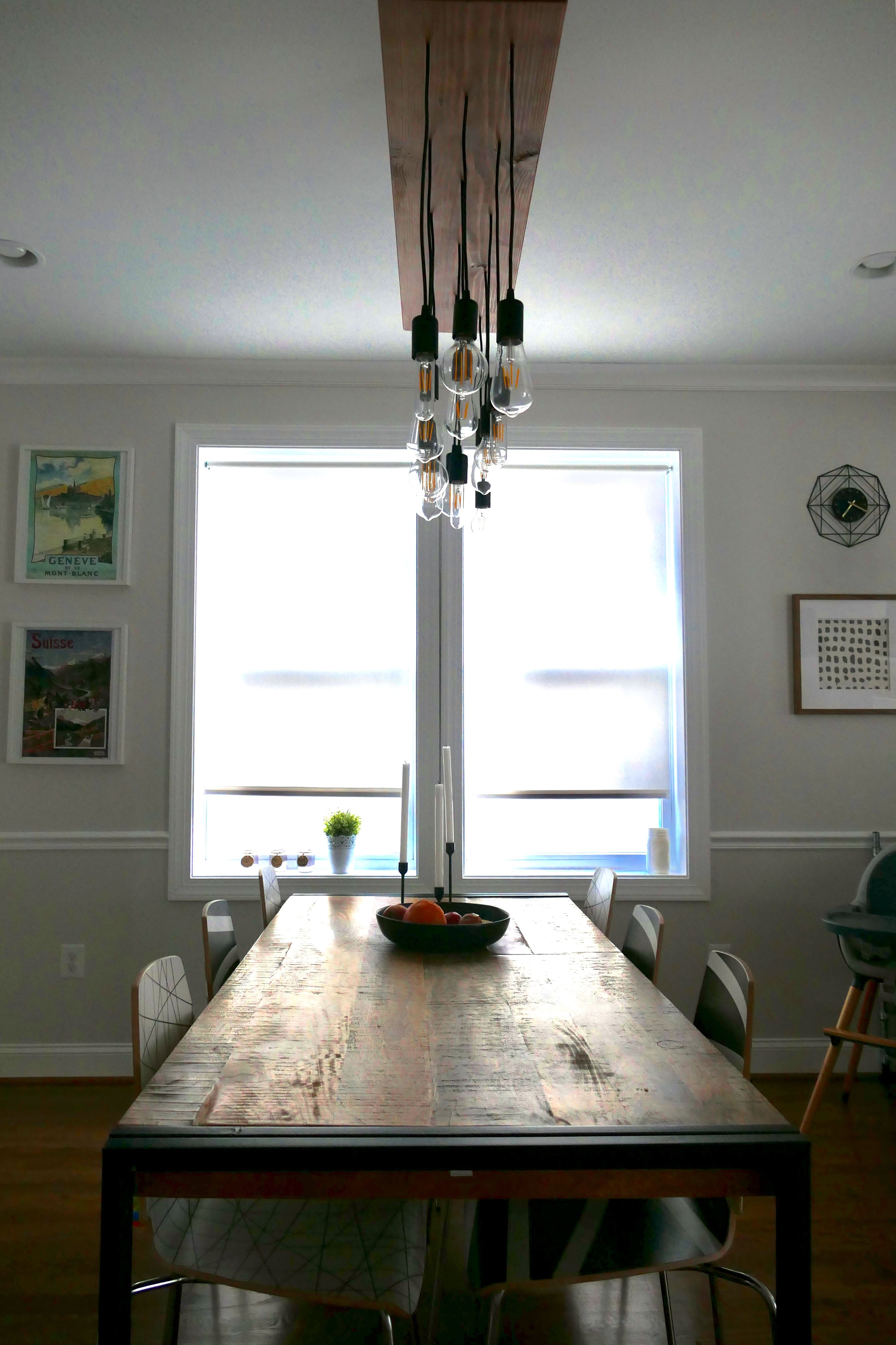 West Elm Dining Room Table And DIY Edison Light Bulbs Ceiling Pendent