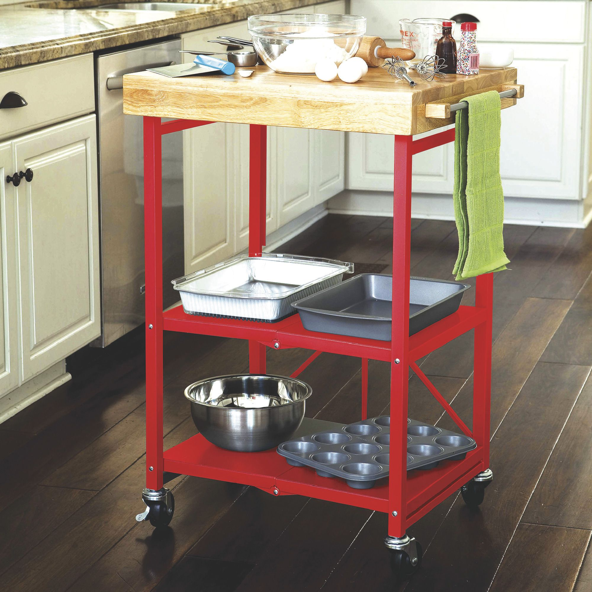 Origami Foldable Steel Kitchen Cart With Wood Butcher Block Top Red Www Kotulas Com Free Shipping Kitchen Cart Decorative Storage Simple Storage