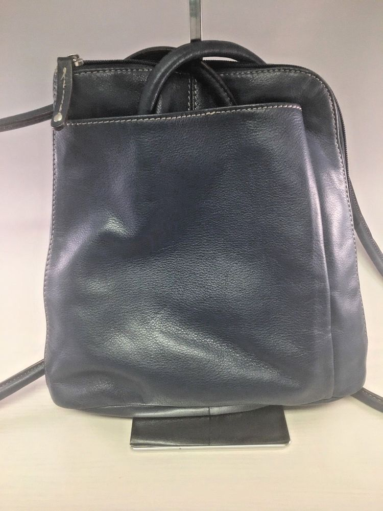ebd7ec3a4c53a Clarks Blue Leather Backpack Convertible Crossbody  Clarks  Backpack ...