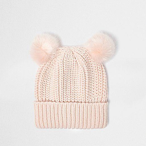 2b2a1fc42 Soft ribbed knit Faux fur pom poms Turn-up hem | Gift ideas ...