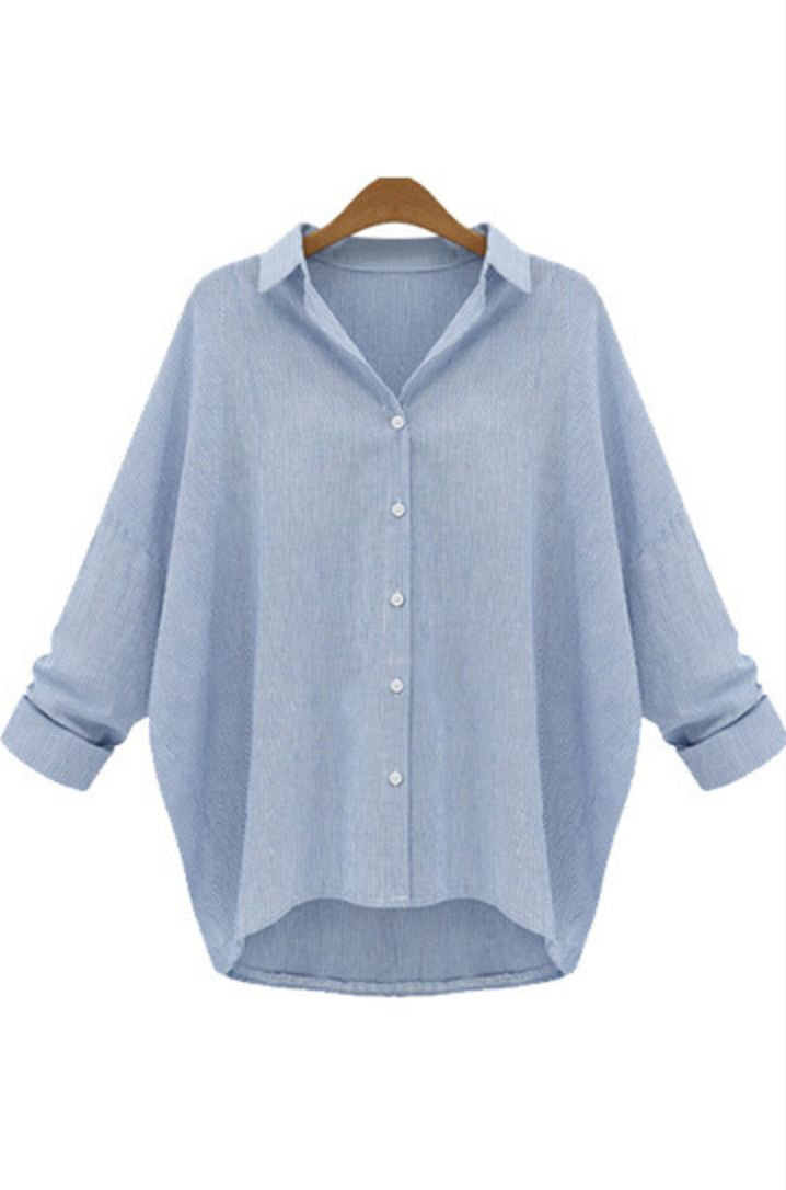ada62aa1 Linen Oversize Boyfriend Women Shirt Light Blue – Dadaism Fashion. Women's  Oversized Boyfriend Shirt Plus Size Long ...