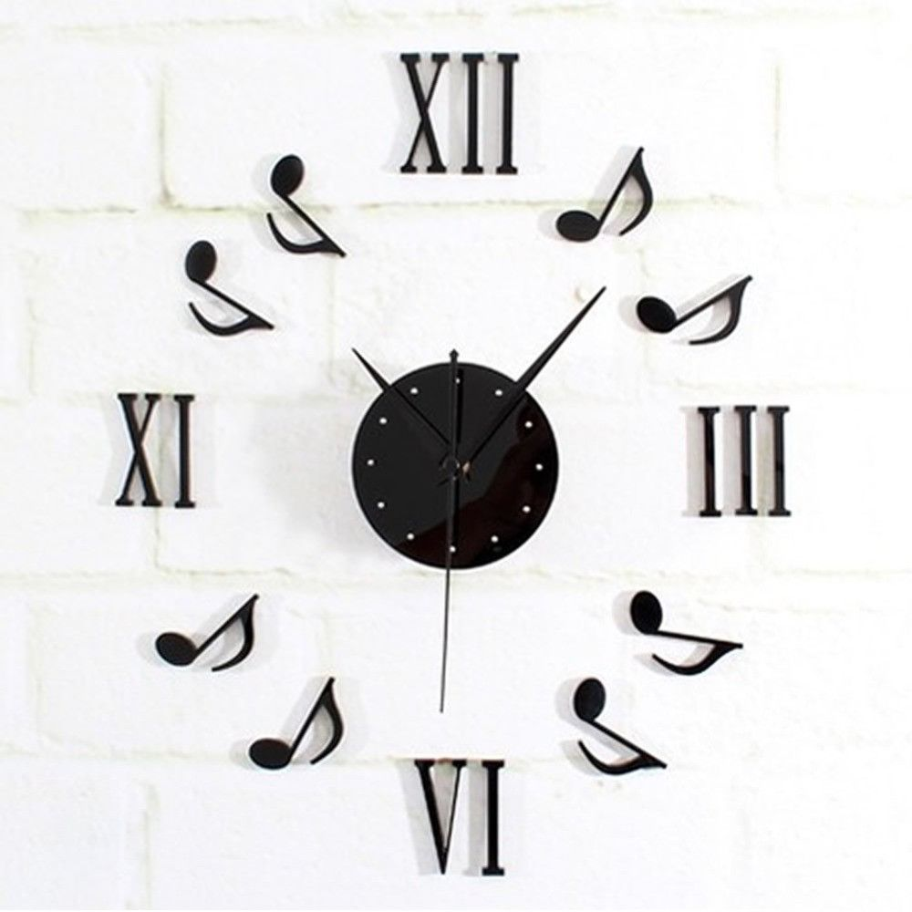 New Diy Black Music Notes Clock Mirror Surface Wall