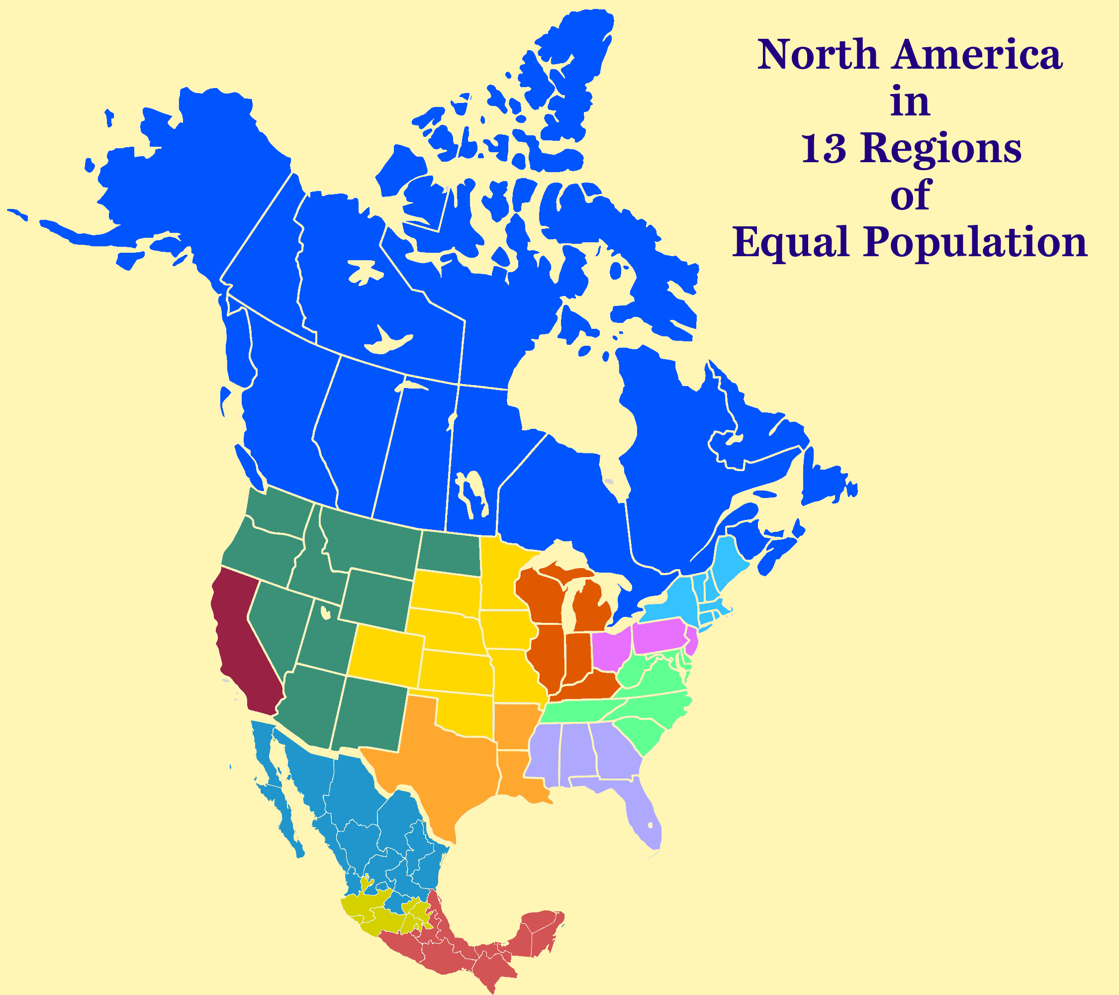 North America Equal Population Map US and Canada Pinterest
