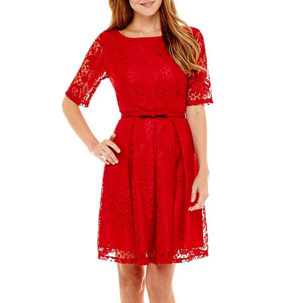 Danny Amp Nicole 174 Elbow Sleeve Belted Lace Fit And Flare