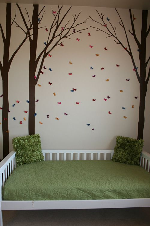 Woodland Kids Bedroom- theme would be perfect for both genders. This is something I could get behind passionately...I would've loved this as a little girl. Maybe our ridiculous green carpets would blend in better with the earth tones and forest vibes.