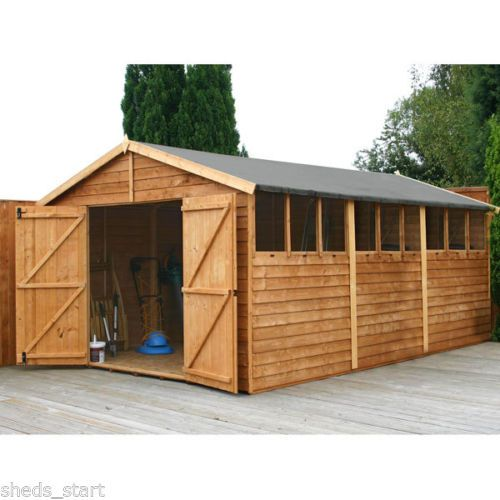 15x10 Wooden Workshop Apex Shed Overlap Garden Sheds Double Door