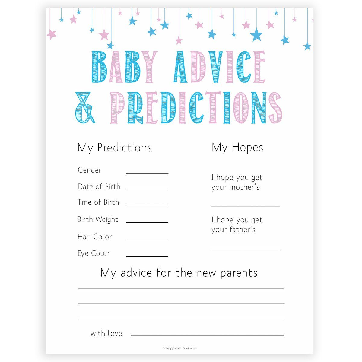 Baby Advice Amp Predictions Card