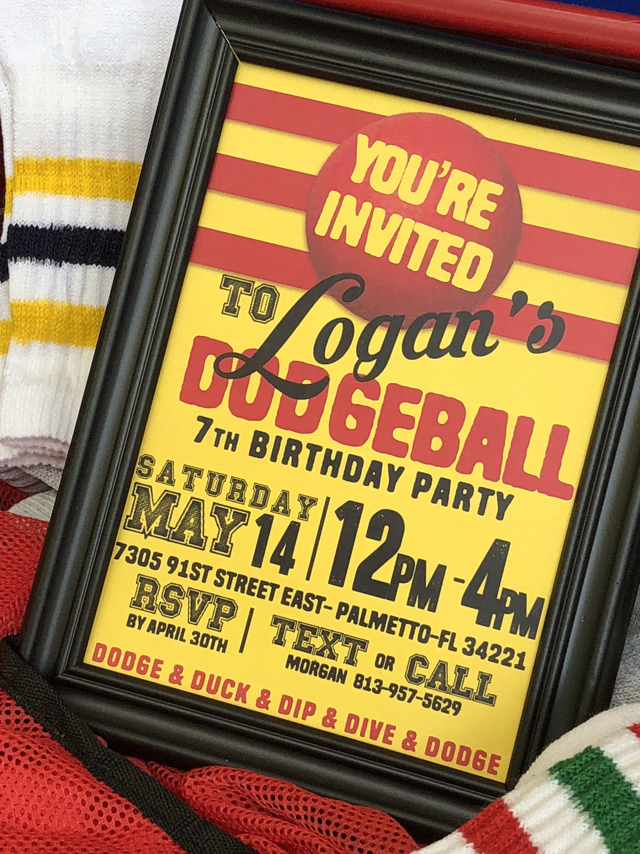 dodgeball party bundledodgeball invitationcupcake toppershershey bar wrappers water bottle