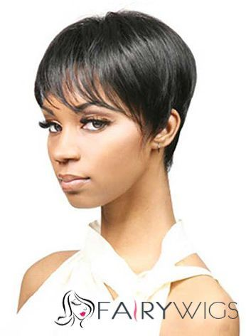 Online Short Black 100 Indian Remy Hair Wigs For Black Women Short Wigs Short Hair Wigs Motown Tress Wigs