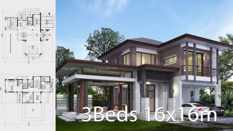 Home Design Plan 16x16m With 3 Bedrooms House Design Home Building Design Affordable House Plans