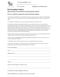 Pet Grooming Legal Forms  Pet Grooming Contract  Grooming