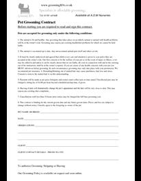 Pet Grooming Contract Pet Grooming Grooming Dog Grooming