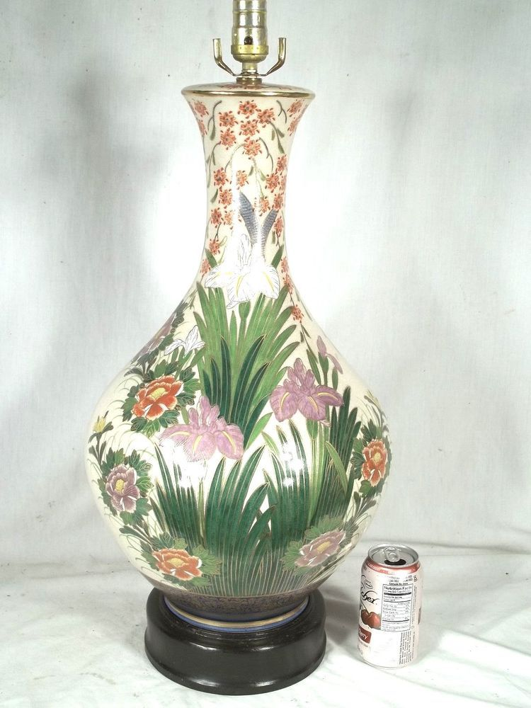 MAMOUTH CHINESE HAND PAINTED FLORAL CERAMIC GOURD LAMP