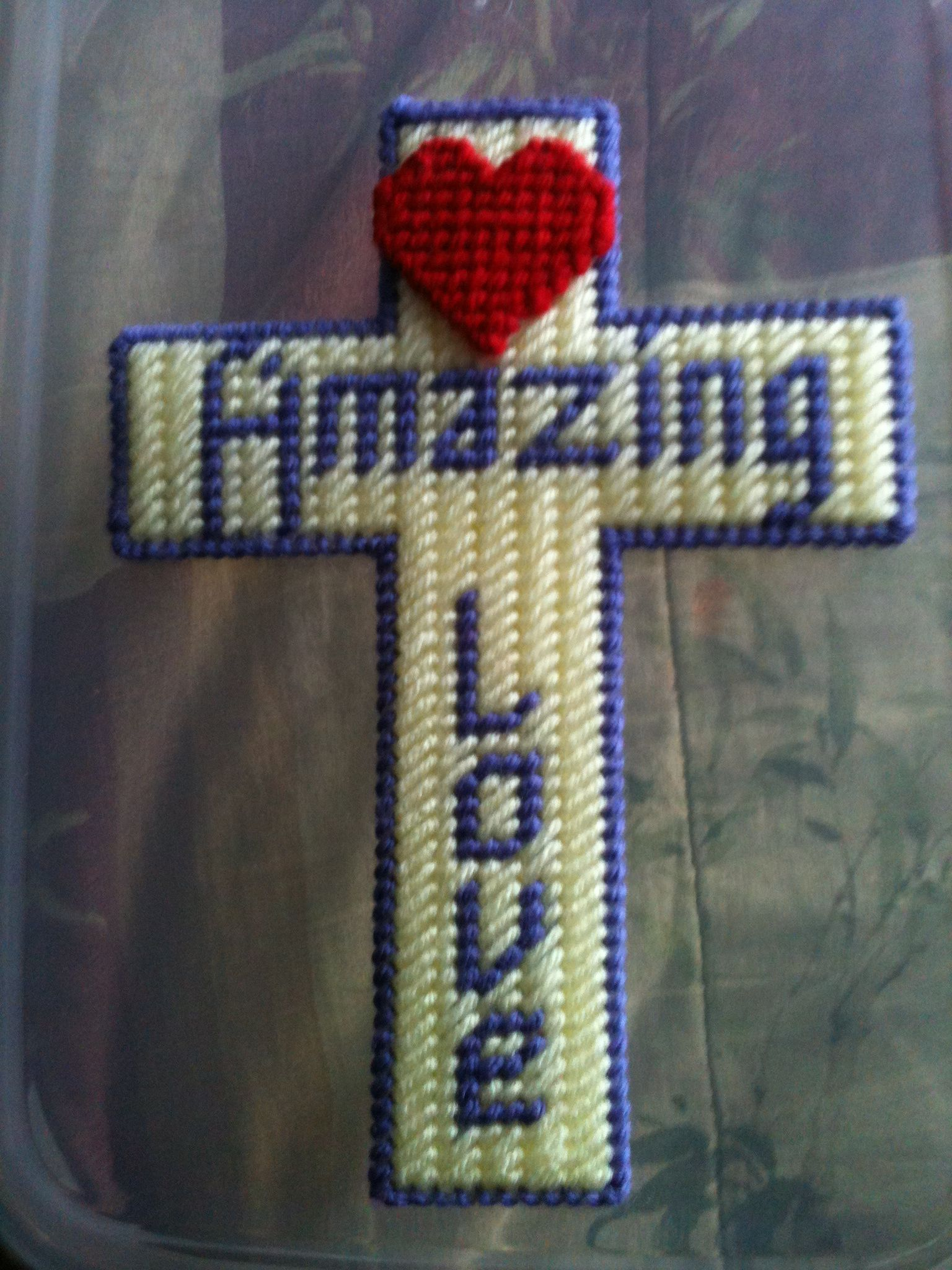 Cross made of plastic canvas craft projects supplies for Cardboard crosses for crafts