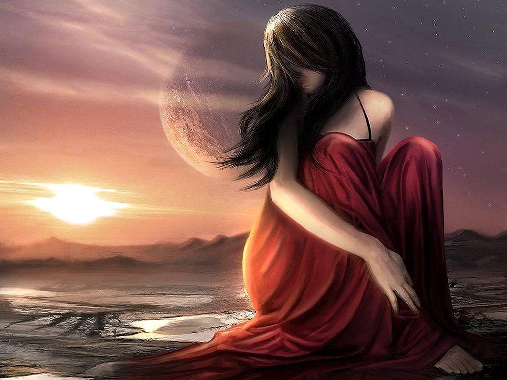 Moon With Woman | ... , Pretty, Sad, Sadness, SKY, STARS, SUNSET, Sunsets,  Woman, Women