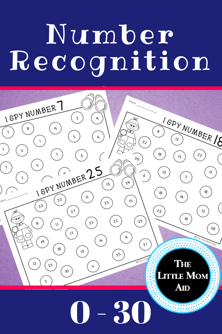 I Spy 0 to 30 Number Recognition Practice Worksheets BUNDLE