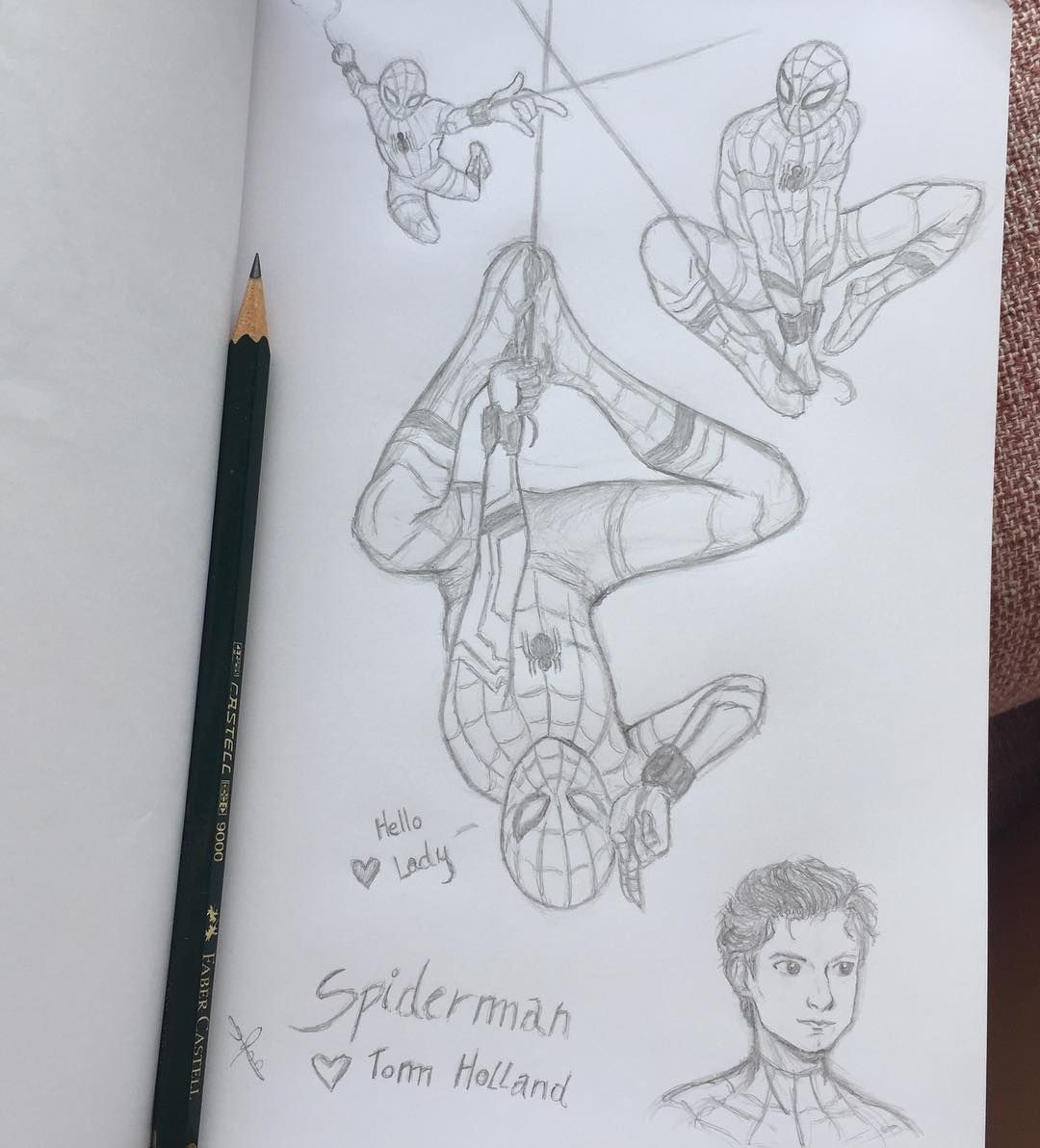"Ika on Instagram: ""Spiderman 🕷 I Love Tom Holland like Spiderman! ❤️ #spiderman #tomholland #drawing #spidermandrawing #drawing #art #pencil #sketch #boy…"""