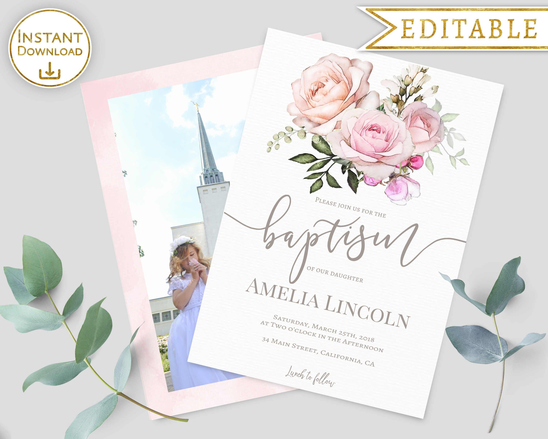 lds baptism invitation girl printable invite editable template