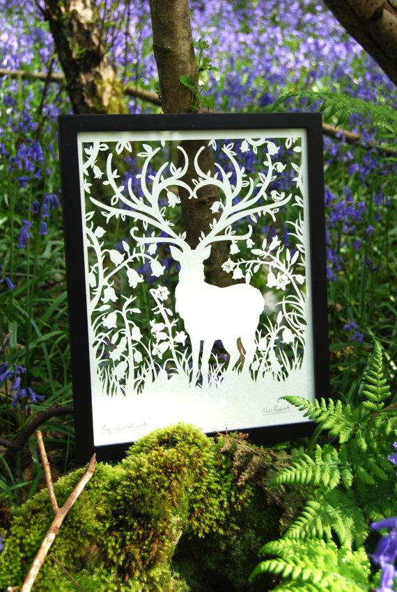 One of my original illustrations, Stag in bluebell woods. You can now buy these ltd edition laser cuts in this design. Editions of 150 in each