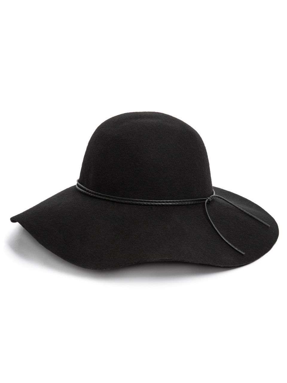 GUESS Wide-Brim Felt Hat, BLACK