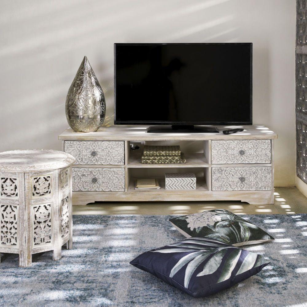 Tv Mobel Aus Geschnitztem Mangoholz Gebleicht Bout De Canape Table De Chevet Bois Et Peindre Meuble Bois