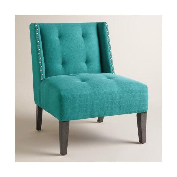 Cost Plus World Market Peacock Blue Carlin Wingback Chair ($100) ❤ Liked On  Polyvore