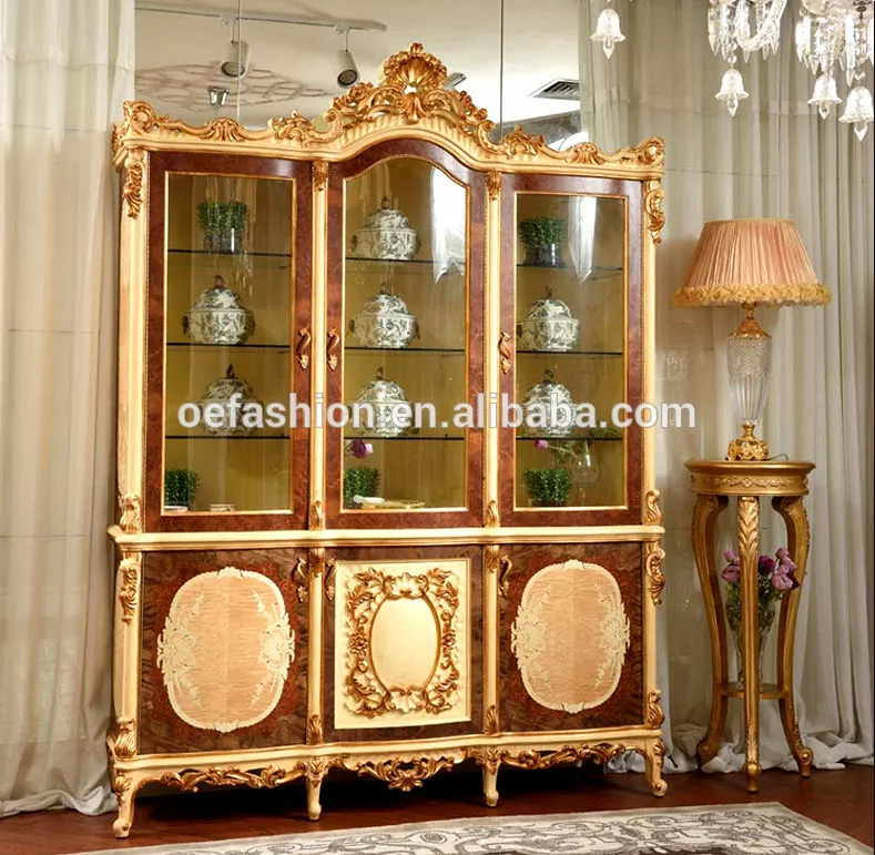 Oe Fashion European Villa Wine Cabinet Gold French Court Three Door Wine Cabinet Living Room Glass Wine Cabinet View Wine Wine Cabinets Furniture Styles Glass