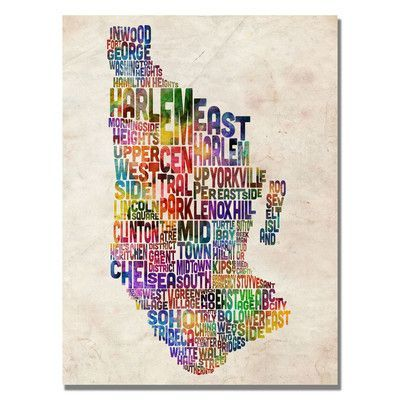 """Trademark Art """"Manhatan Typography Map"""" by Michael Tompsett Graphic Art on Wrapped Canvas Size: 32"""" H x 22"""" W x 2"""" D"""