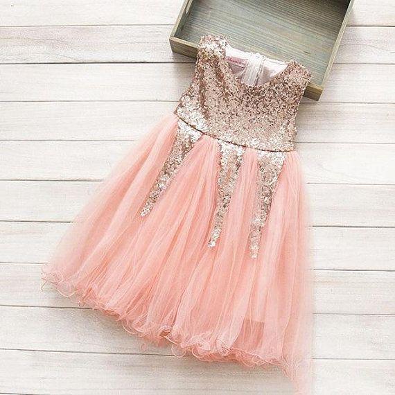 2f370014cae18 Delilah Rose Gold Glitter Party Dress, Flower Girl Dress, Baby ...