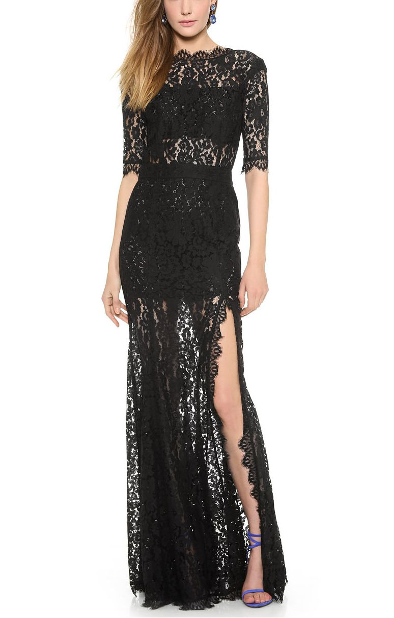 Black Deep Vback Half Sleeves Side Split Maxi Lace Party Dress