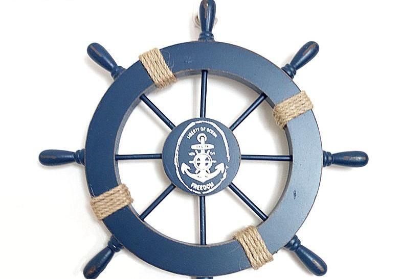 Decor Wooden Ship Wheel Navy Sky Blue Red Yellow D 3 Nautical Decor Ship Wheel Decor Nautical Theme Decor
