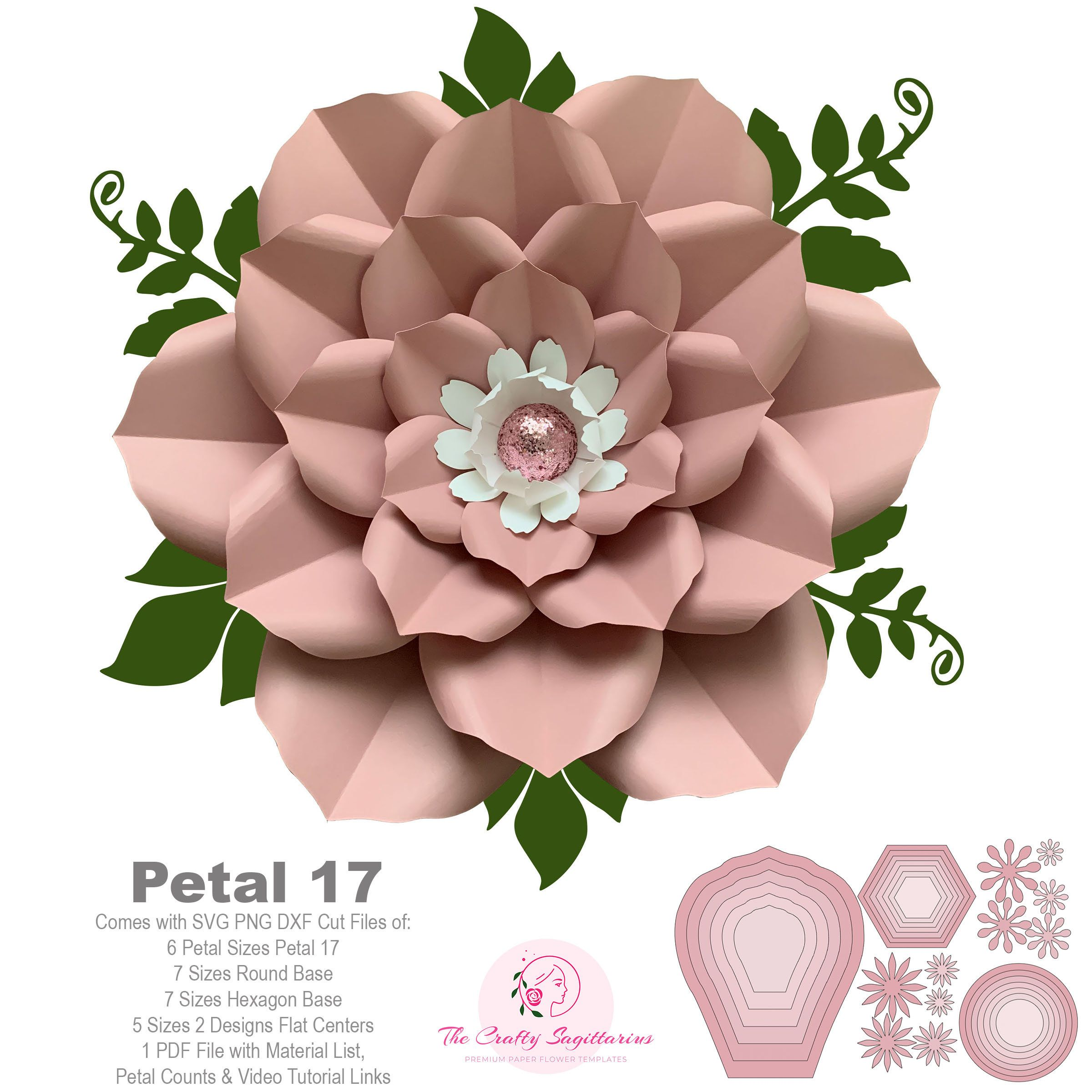 Petal 17 Svg Png Dxf Giant Paper Flowers Template Kit Stencils
