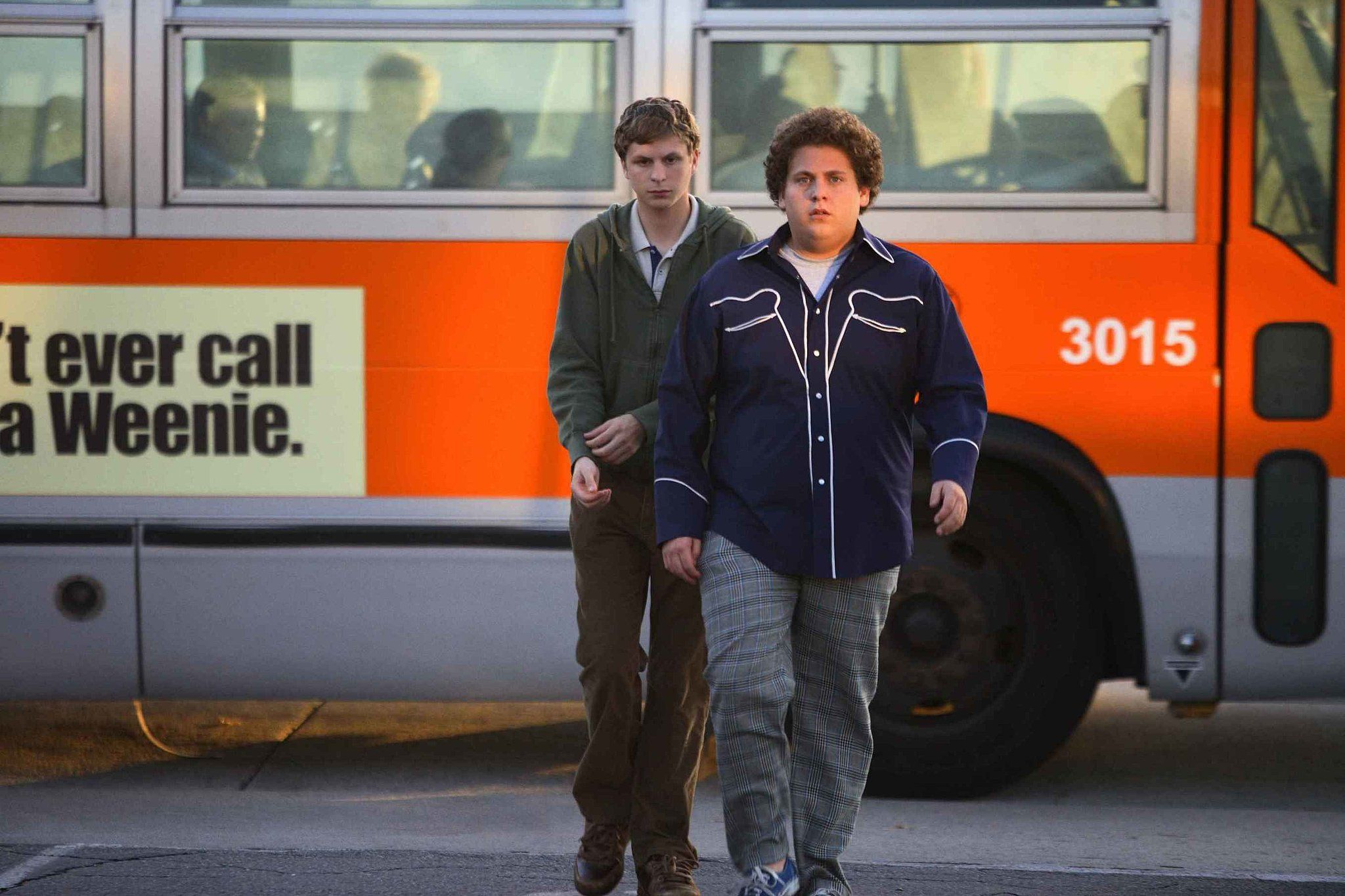 evan and seth from superbad what to wear for seth gray plaid pants and a dark blue western ish bowling shirt with white trim if you can pull off a short - Superbad Halloween Costumes