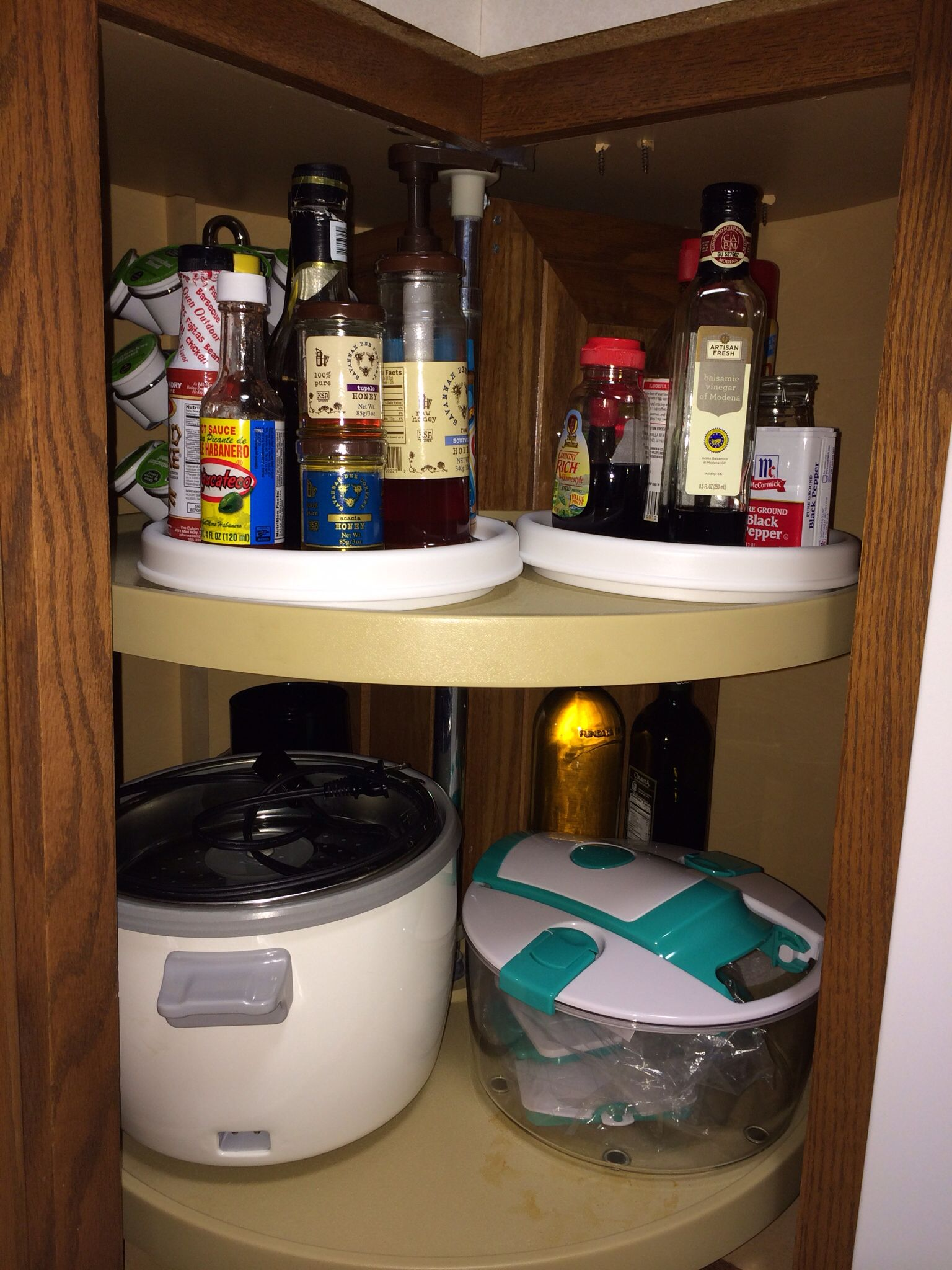 Corner Lazy Susan Turntable Kitchen Cabinet At My House We Call It The Super Susan We Added 2 9 Copco Turntables Lazy Susan To Hold Everyday Items Kuri