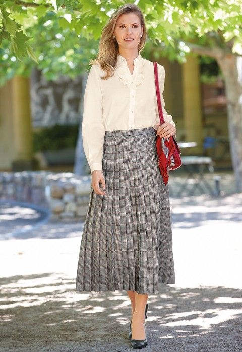 Long Grey Pleated Skirt and blouse | Ladies Clothing - Casual ...