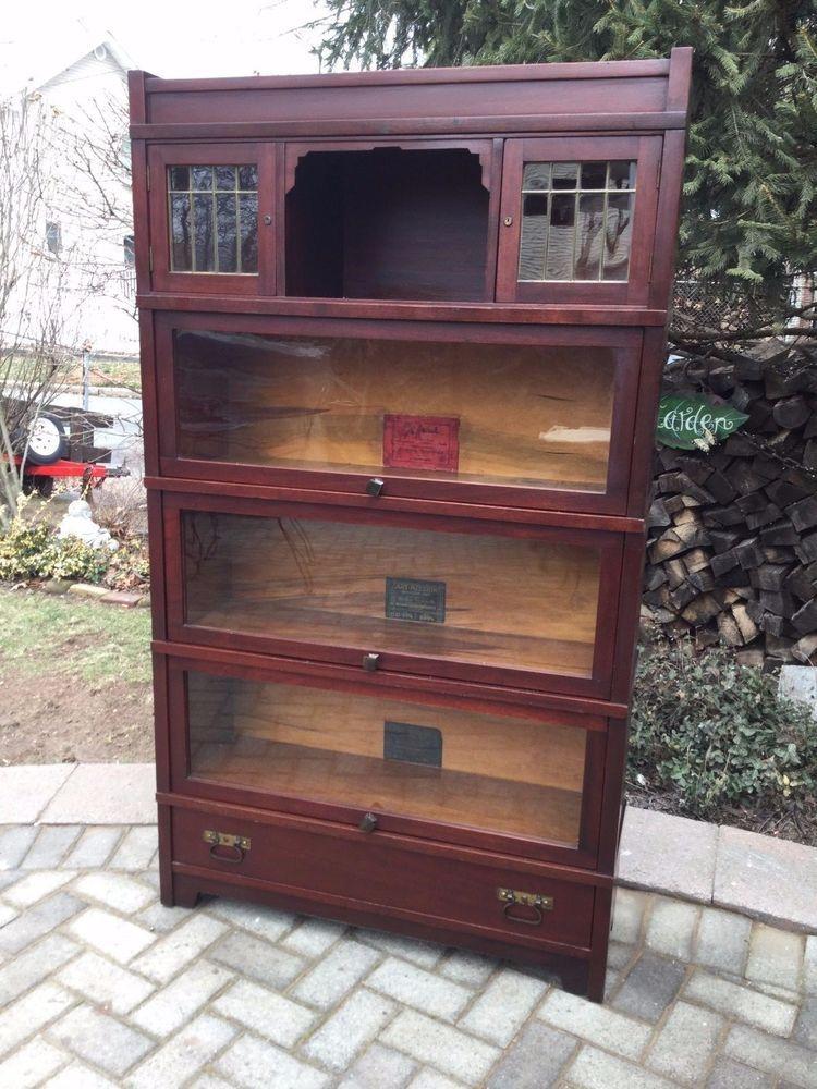 Antique Globe Wernicke Art Mission Barrister Bookcase Rare Style