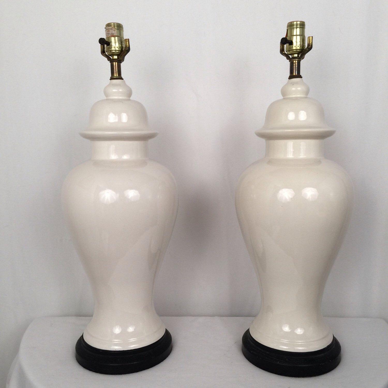 vintage pair large white ginger jar lamps mid century modern hollywood regency palm beach - Ginger Jar Lamps