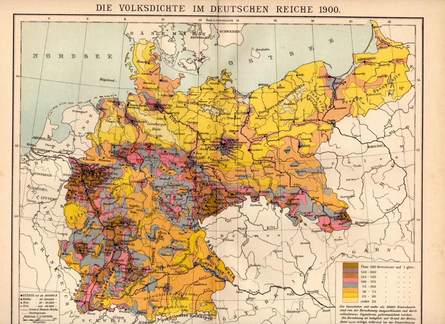 Historical Map Of Germany 1900.German Empire Population Density 1900 1500x1090 German
