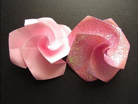 origami twisty rose from a bird base video tutorial