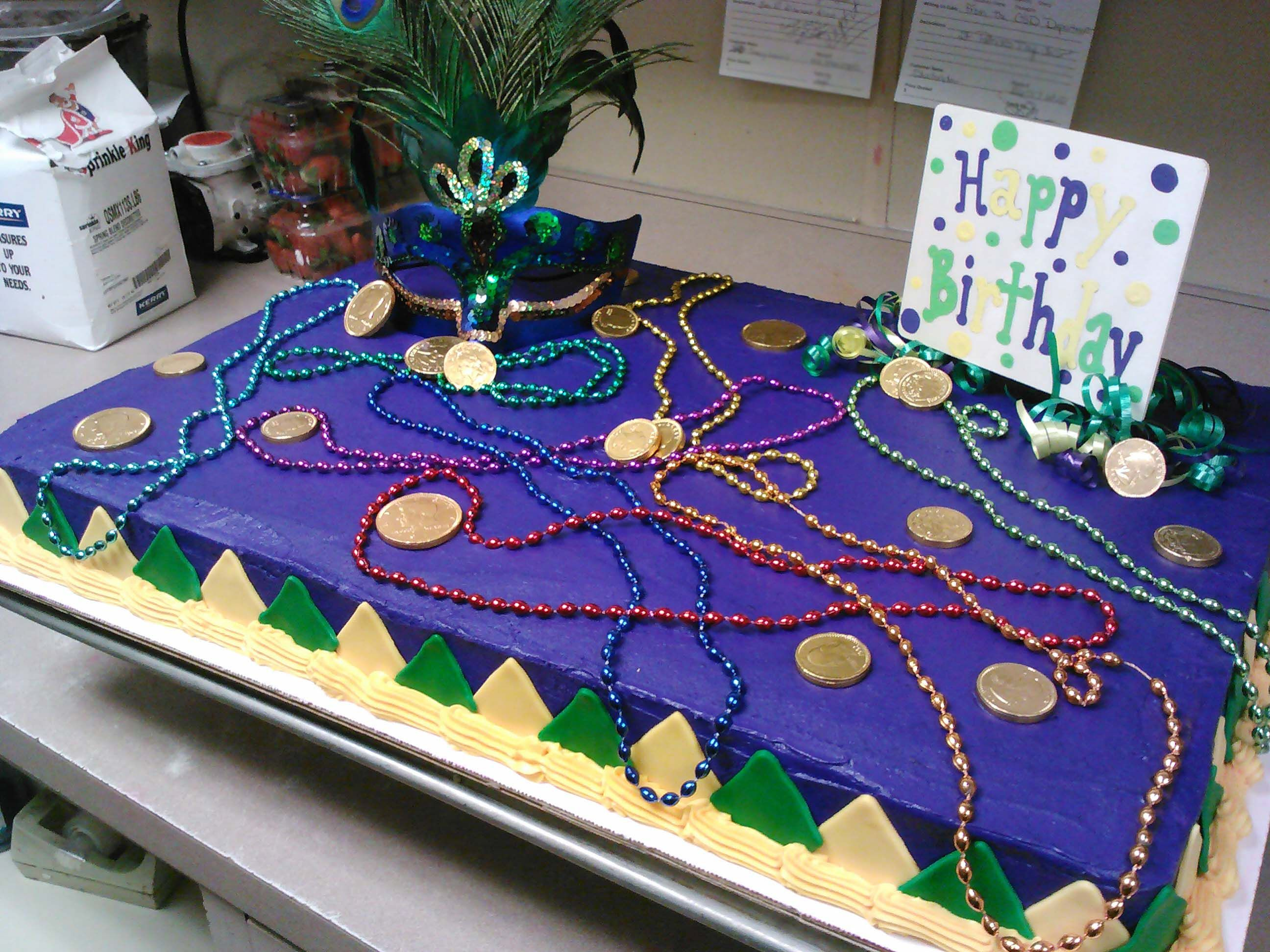 Mardi Gras birthday cake designed by Cosentinos Brookside Market