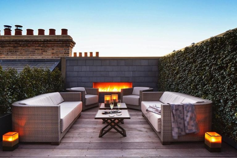 13 Stunning Rooftop Patio Design With Fireplace Ideas For Cheerful