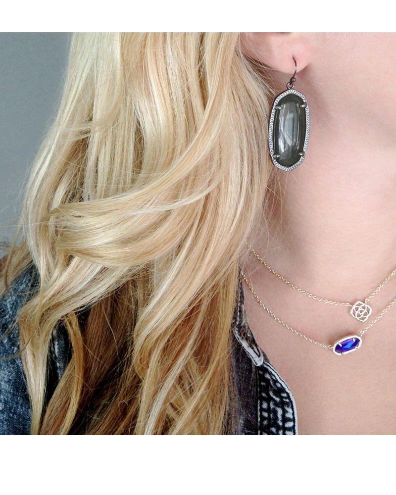 Elle Black Drop Earrings In Gunmetal Kendra Scott