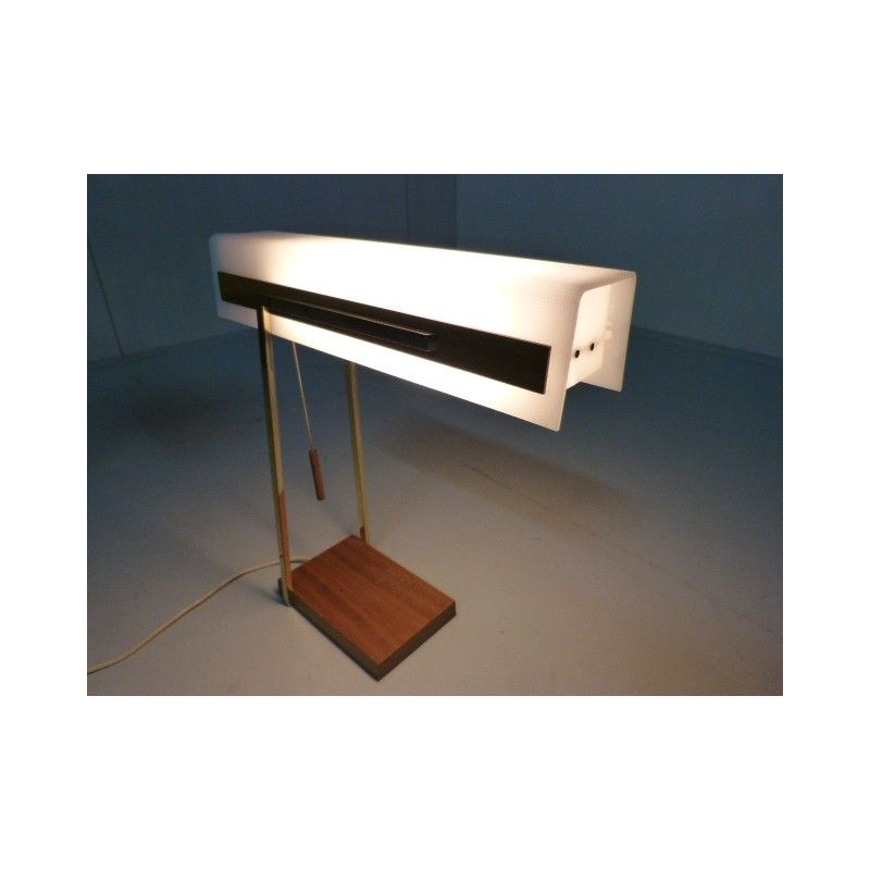 Lampe de bureau en teck et laiton annes 50 Design Market