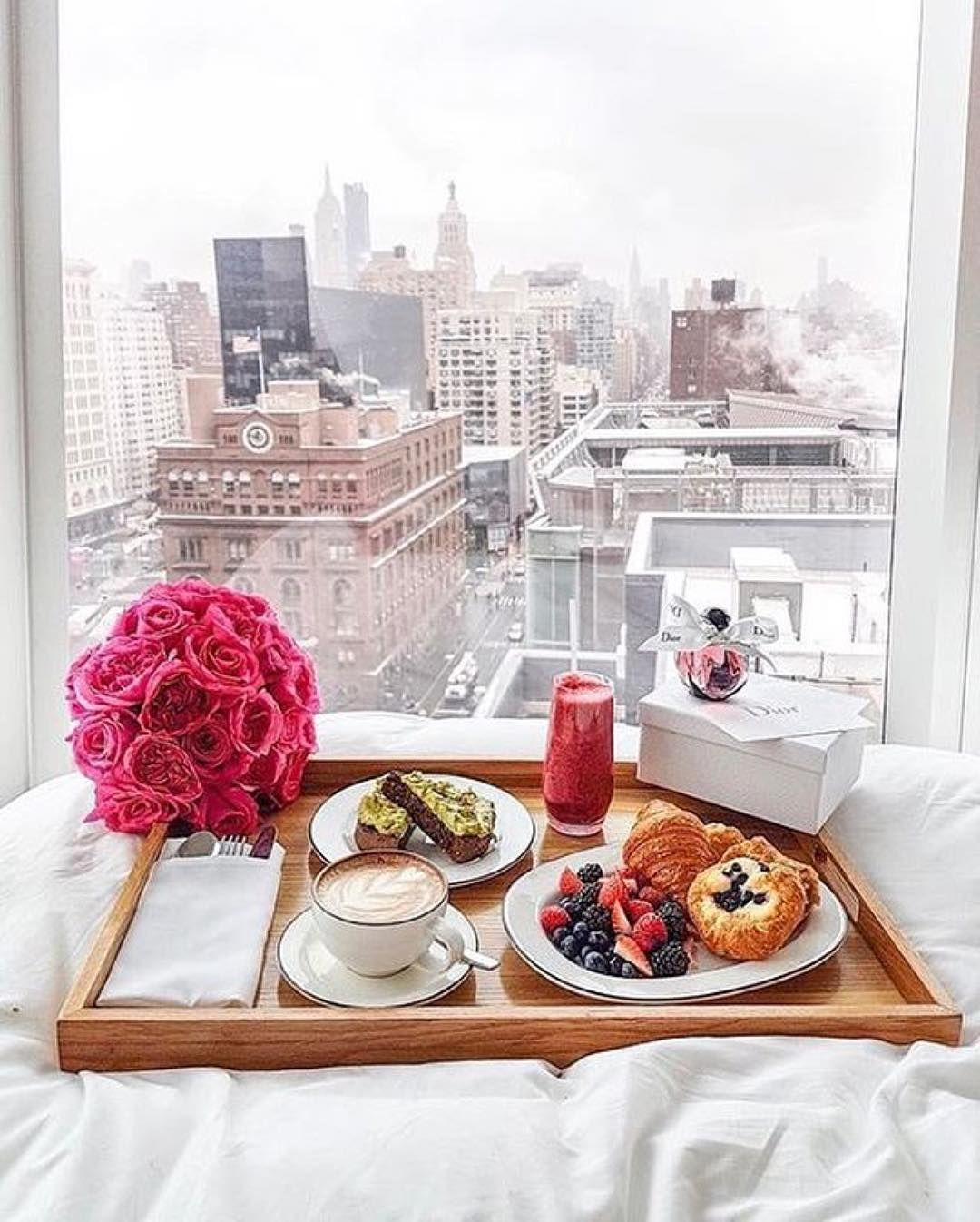 Instagram Breakfast In Bed Breakfast Skyline View